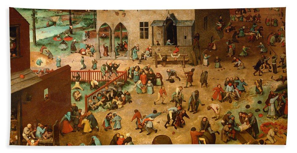 Pieter Bruegel The Elder Hand Towel featuring the painting Childrens Games by Pieter Bruegel the Elder