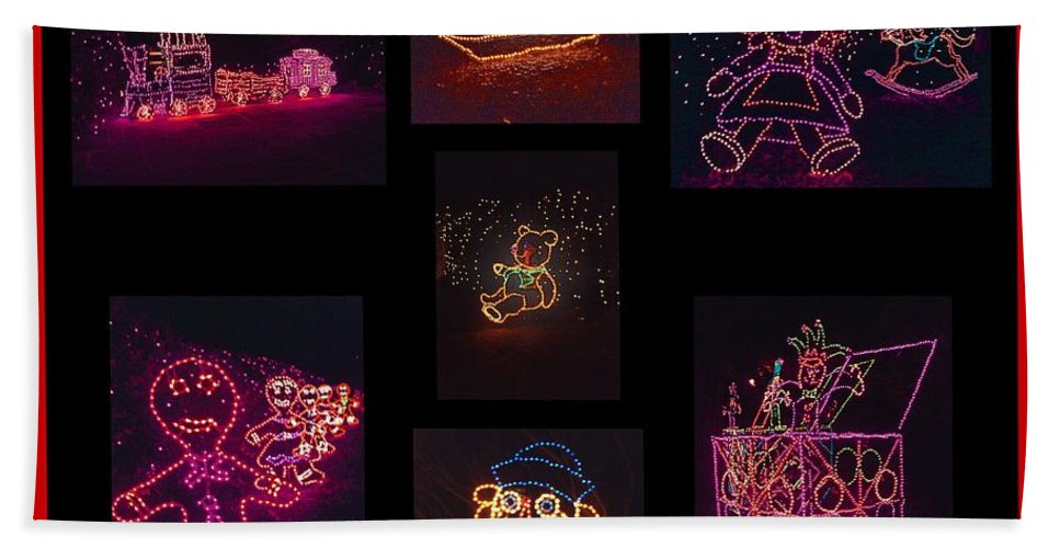 Digital Art Bath Towel featuring the photograph Children's Toys In Lights Poster 2 by Marian Bell