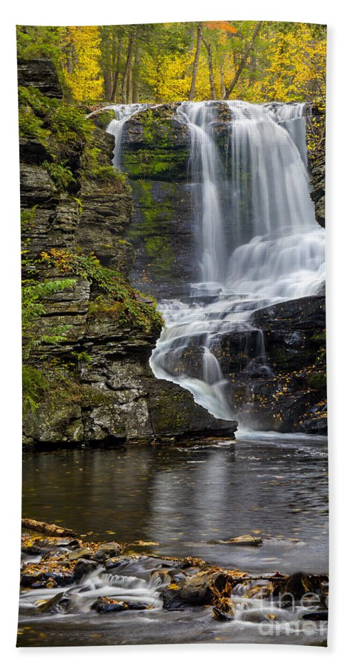 Waterfall Bath Towel featuring the photograph Childs Park Waterfall by Susan Candelario