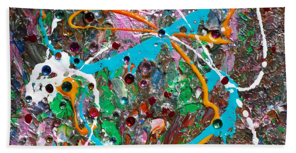 Bold Abstract Hand Towel featuring the mixed media Child's Play by Donna Blackhall