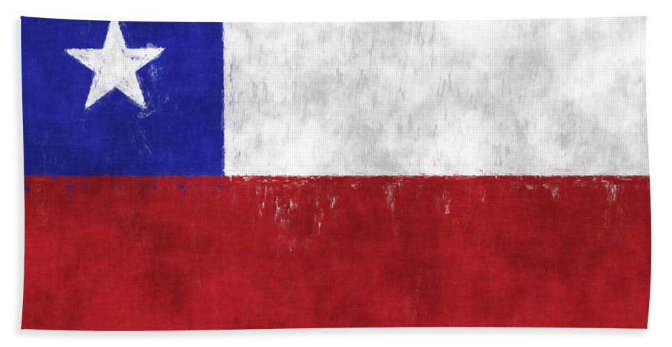 Chile Bath Sheet featuring the digital art Chile Flag by World Art Prints And Designs