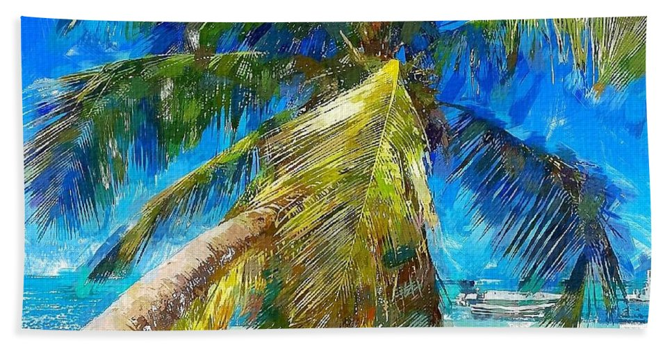 Beach Hand Towel featuring the painting Chill by Chris Butler