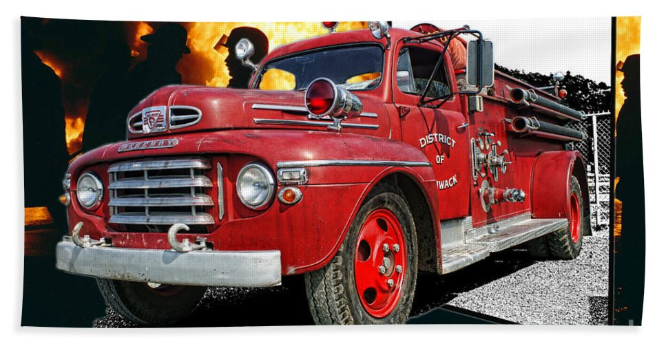 Fire Trucks Hand Towel featuring the photograph Chilliwack Fire-coming Out Into The Fire by Randy Harris