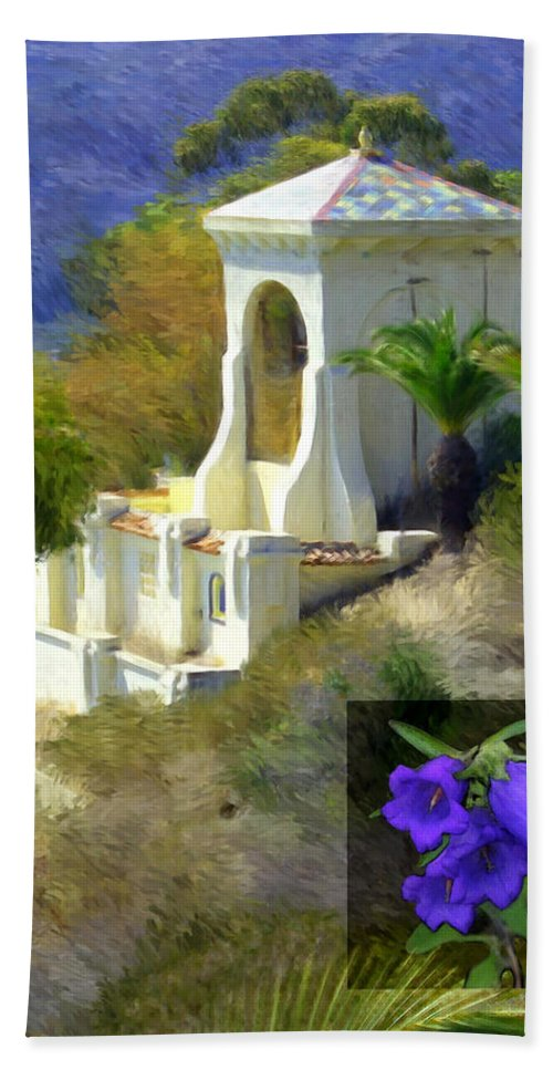 Chimes Tower Hand Towel featuring the digital art Chimes Tower Bell Flower by Snake Jagger
