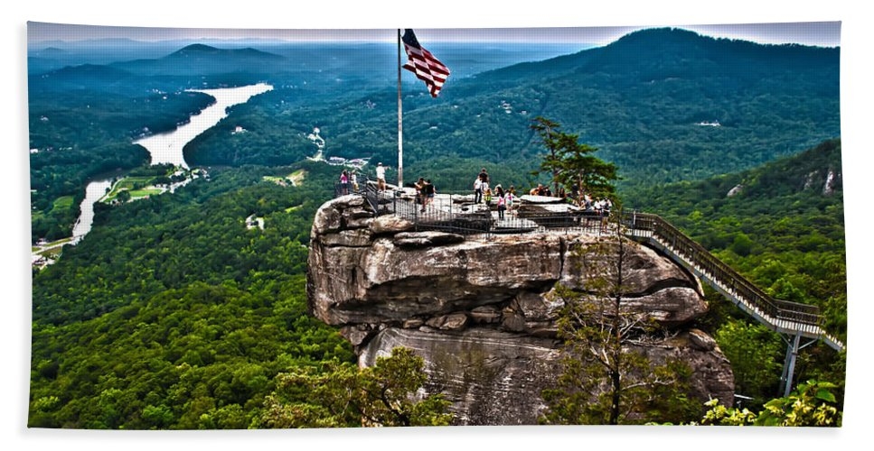 Colors Bath Sheet featuring the photograph Chimney Rock At Lake Lure by Alex Grichenko