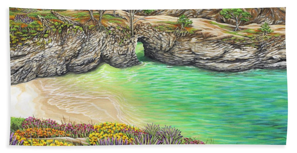 Ocean Bath Sheet featuring the painting China Cove Paradise by Jane Girardot