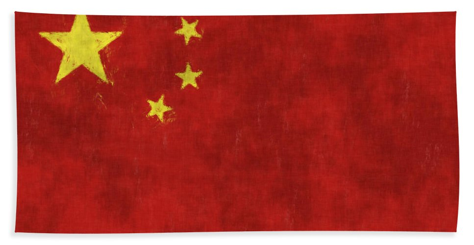 China Hand Towel featuring the digital art China Flag by World Art Prints And Designs
