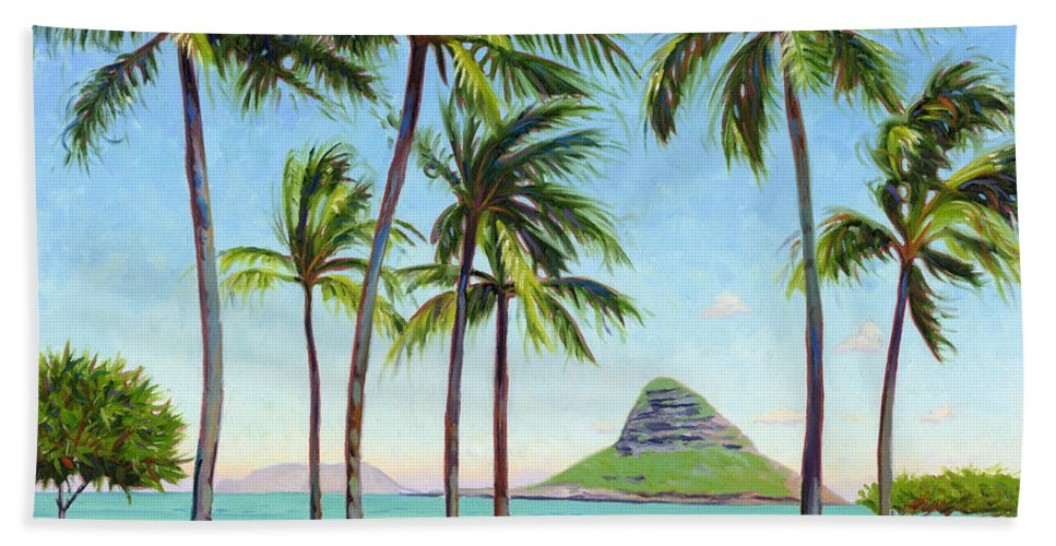 Chinamans Hat Bath Sheet featuring the painting Chinamans Hat - Oahu by Steve Simon