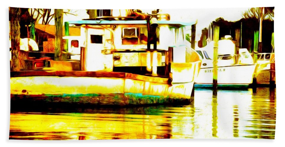 Chincoteague Hand Towel featuring the photograph Chincoteague Boat Reflections by Alice Gipson