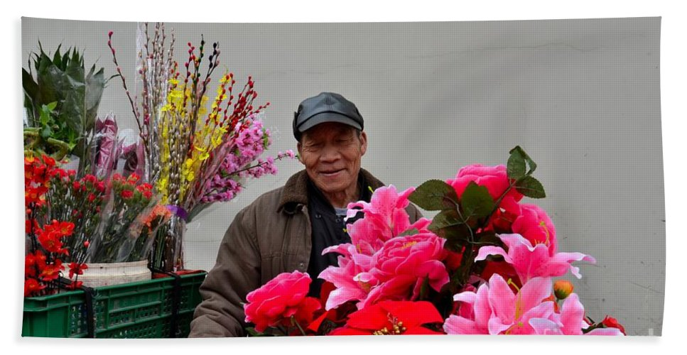 Flowers Hand Towel featuring the photograph Chinese Bicycle Flower Vendor On Street Shanghai China by Imran Ahmed
