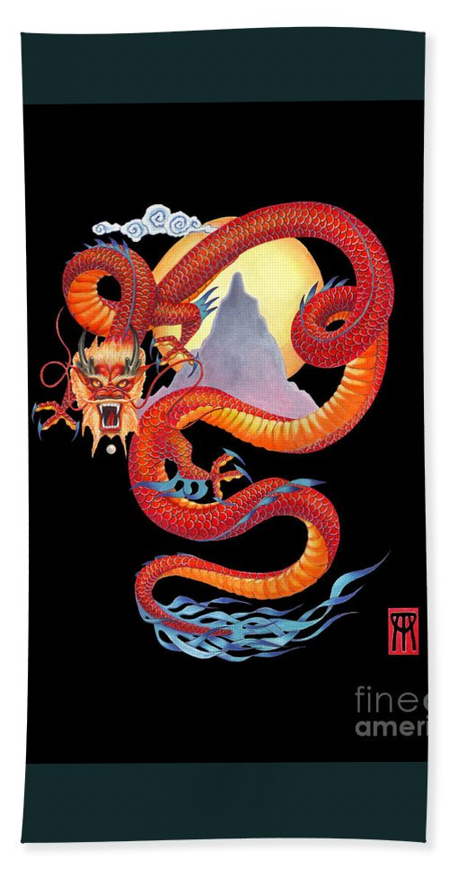Dragon Hand Towel featuring the painting Chinese Dragon on Black by Melissa A Benson