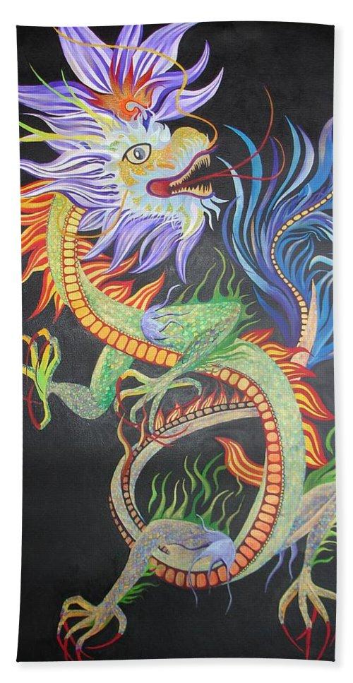 Bath Sheet featuring the painting Chinese Fire Dragon by Tracey Harrington-Simpson