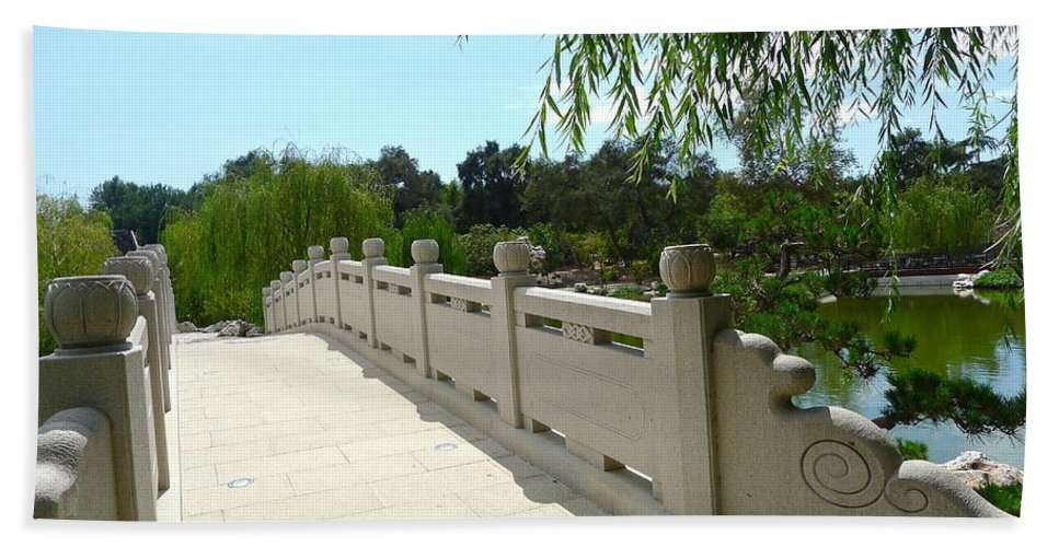 Bridge Hand Towel featuring the photograph Chinese Garden Bridge by Denise Mazzocco