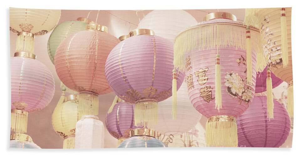 Romantic Bath Sheet featuring the photograph Chinese Lanterns by Cindy Garber Iverson