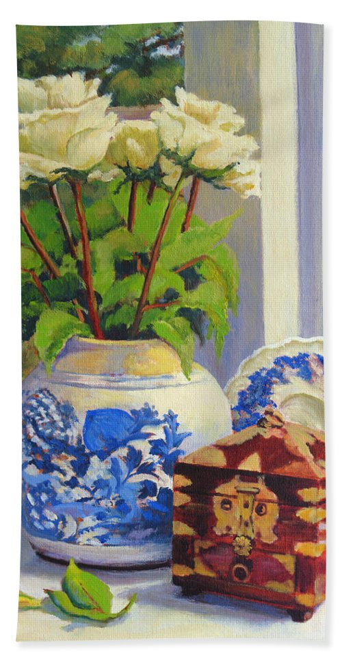 Impressionism Bath Towel featuring the painting Chinese Melon Jar by Keith Burgess