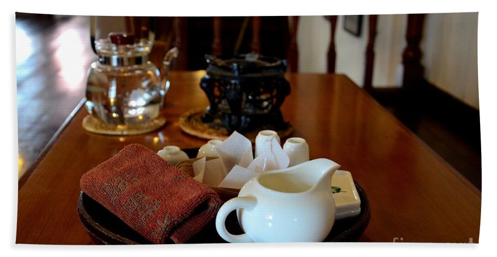 Tea Bath Sheet featuring the photograph Chinese Tea Pot Cups Towel Tray And Plates by Imran Ahmed