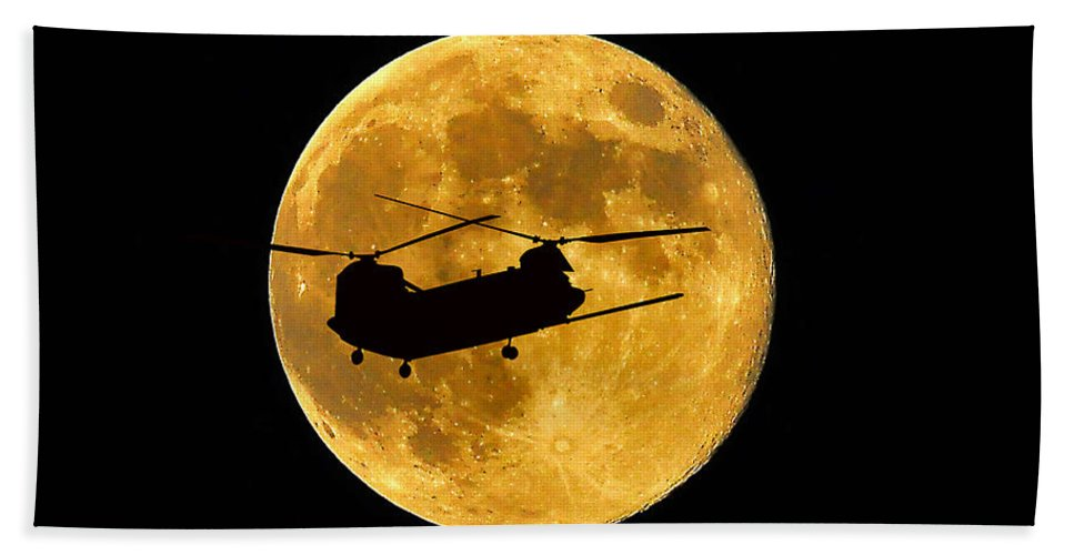 Ch-47 Chinook Hand Towel featuring the photograph Chinook Moon Color by Al Powell Photography USA
