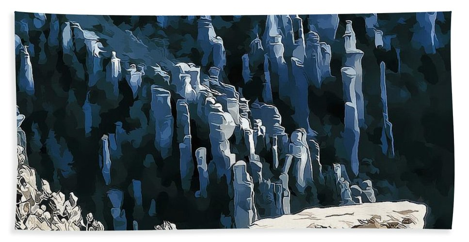 Digital Pen And Ink Drawing Hand Towel featuring the digital art Chiricahua Pinnacles D by Tim Richards