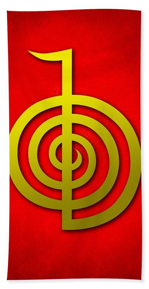 Cho Ku Rei Hand Towel featuring the digital art Cho Ku Rei - Traditional Reiki Usui Symbol by Cristina-Velina Ion
