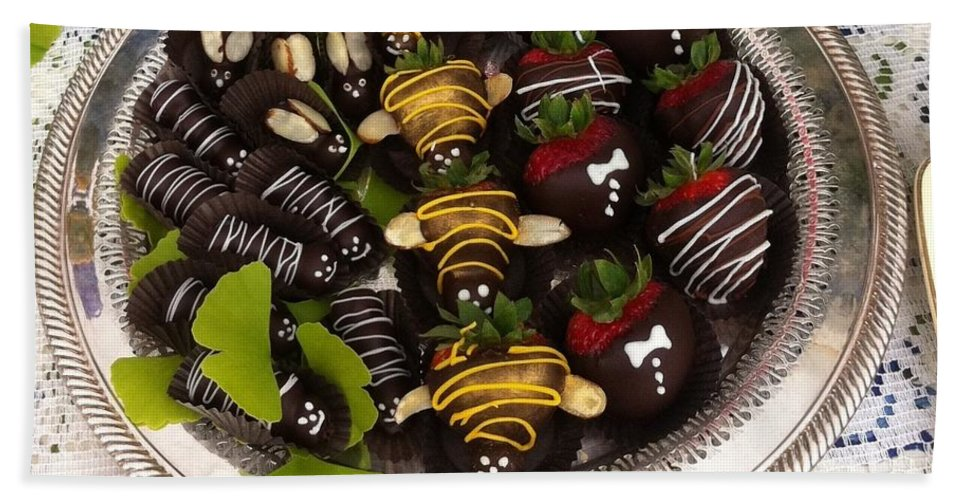 Chocolate Covered Strawberries Bath Sheet featuring the photograph Chocolate Berries by Susan Garren