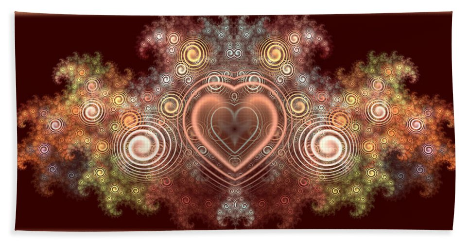 Abstract Bath Sheet featuring the digital art Chocolate Heart by Svetlana Nikolova