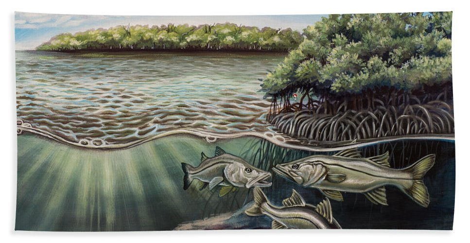 Salt Water Bath Sheet featuring the painting Chokoloskee Snook by Monica Turner