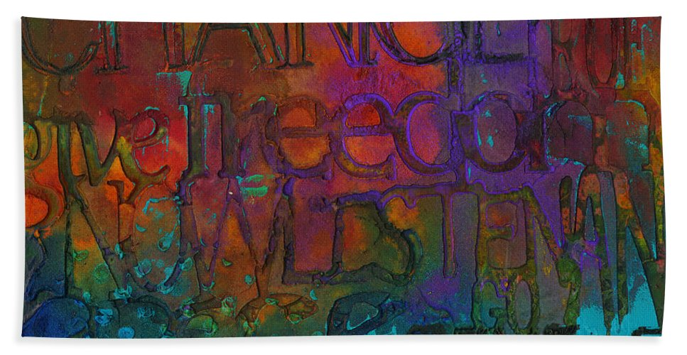 Abstract Mixed Media Hand Towel featuring the mixed media Choose Your Words Carefully by Angela L Walker
