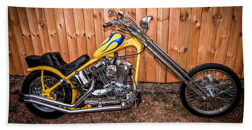 Harley Davidson Hand Towel featuring the photograph Chopper Custom Built Harley by Randall Branham