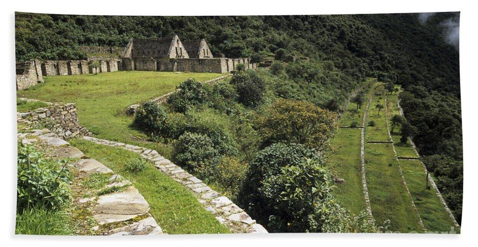 Peru Bath Sheet featuring the photograph Choquequirao Inca Terraces by James Brunker