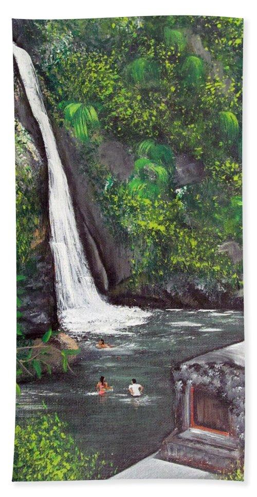 Waterfall Hand Towel featuring the painting Chorro De Dona Juana by Gloria E Barreto-Rodriguez
