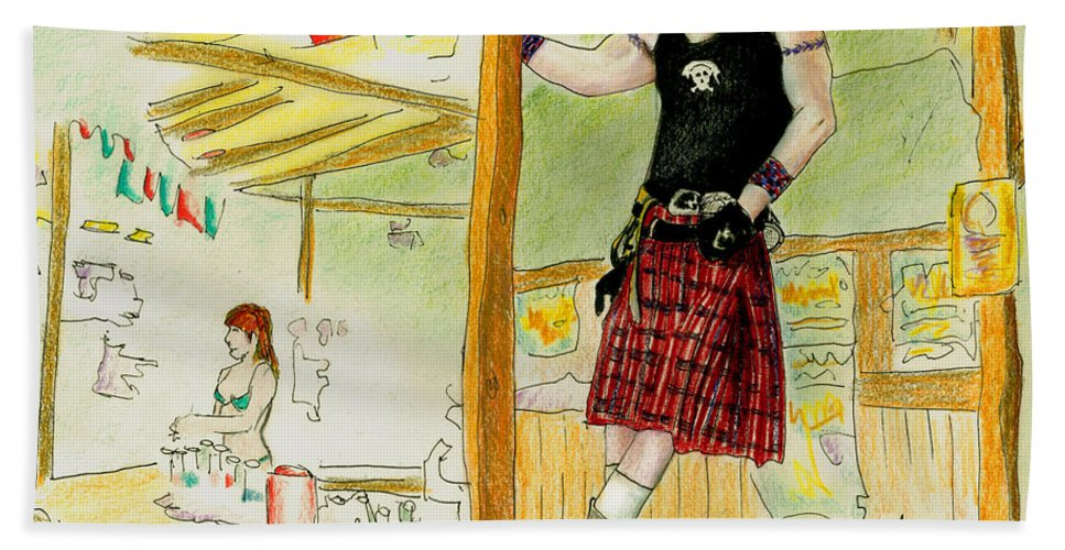 Kilt Hand Towel featuring the painting Chris At The Broken Spoke Saloon by Albert Puskaric