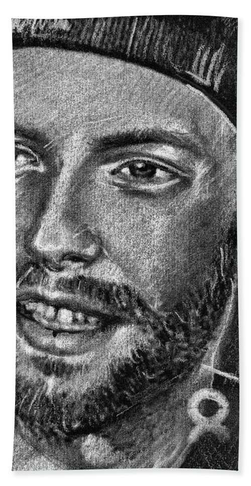 Coldplay Hand Towel featuring the drawing Chris Martin - Coldplay by Daliana Pacuraru