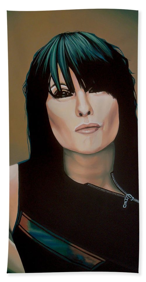 Chrissie Hynde Hand Towel featuring the painting Chrissie Hynde Painting by Paul Meijering