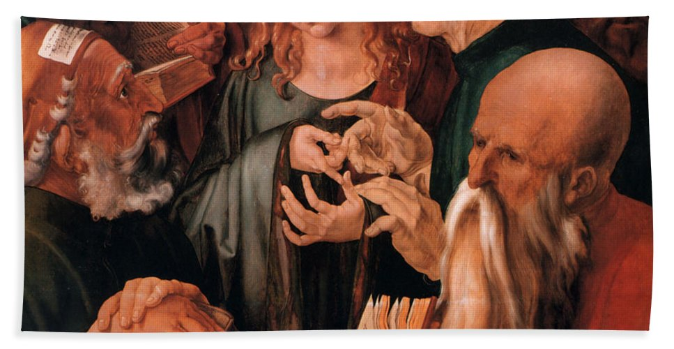 Christ Among The Doctors Hand Towel featuring the digital art Christ Among The Doctors by Albrecht Durer