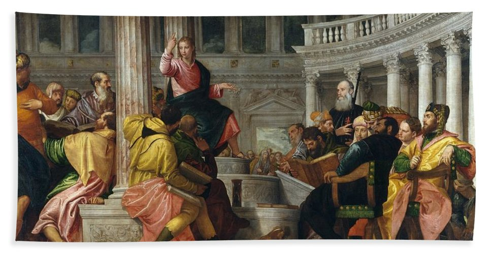 1560 Hand Towel featuring the painting Christ Among The Doctors In The Temple by Paolo Veronese