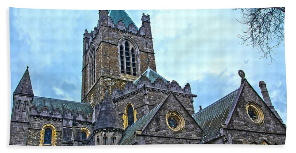 Christ Church Cathedral Hand Towel featuring the photograph Christ Church Cathedral In Dublin by Alex Art and Photo
