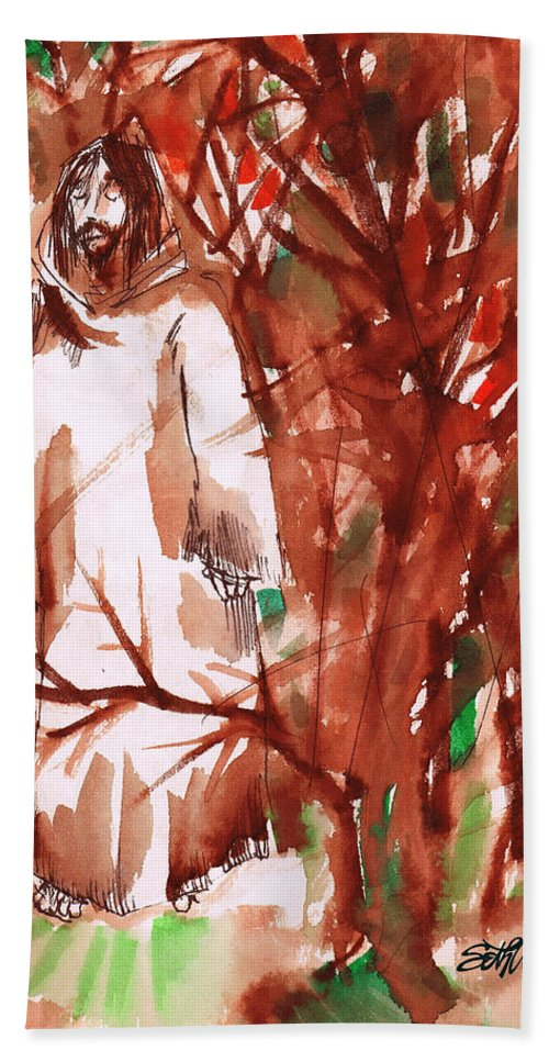 Christ In The Garden Bath Towel featuring the painting Christ in the Forest by Seth Weaver