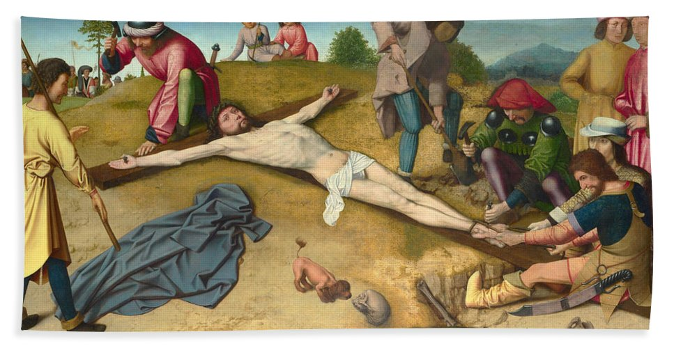 Gerard David Bath Sheet featuring the painting Christ Nailed To The Cross by Gerard David