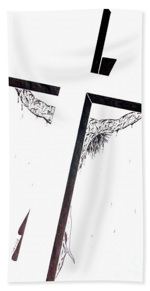 Christ Bath Sheet featuring the drawing Christ On Cross by Justin Moore