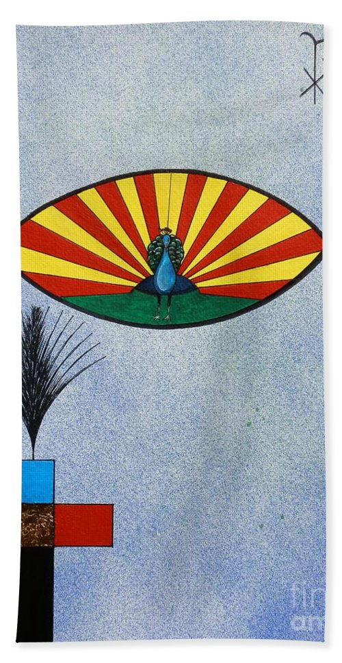 Christian.fish.koi.religion.rainbow.cross.passion.blue.green.gold.peacock.palm.(icqus.greek. Immortality .st. Augustine.victory.martyrdom.chi-rho.sigla:christ.church.jesus.god.lord.heaven.koi.carp. Hand Towel featuring the painting Fish Of Creation by Gordon Lavender