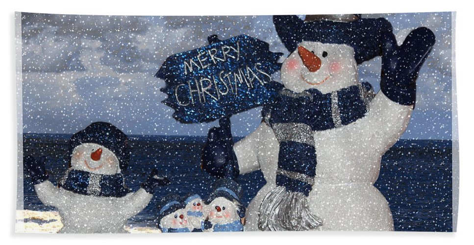 Christmas Bath Sheet featuring the photograph Christmas - Snowmen Collection - Family - Peace - Snow by Barbara Griffin