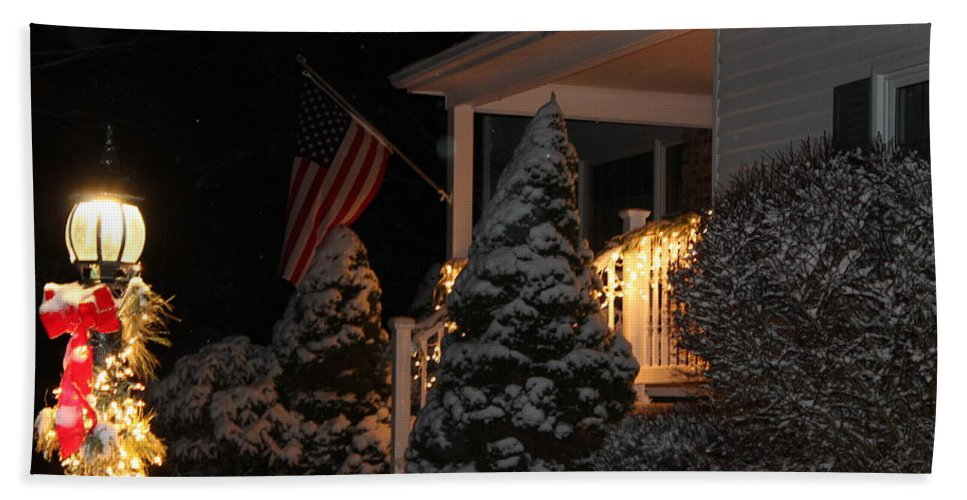 Christmas Hand Towel featuring the photograph Christmas At Home by Catie Canetti