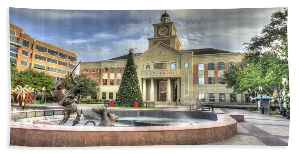 Sugar Land Bath Sheet featuring the photograph Christmas At Sugar Land City Hall by David Morefield