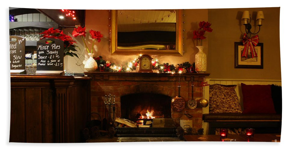 Christmas Hand Towel featuring the photograph Christmas At The Pub by Terri Waters