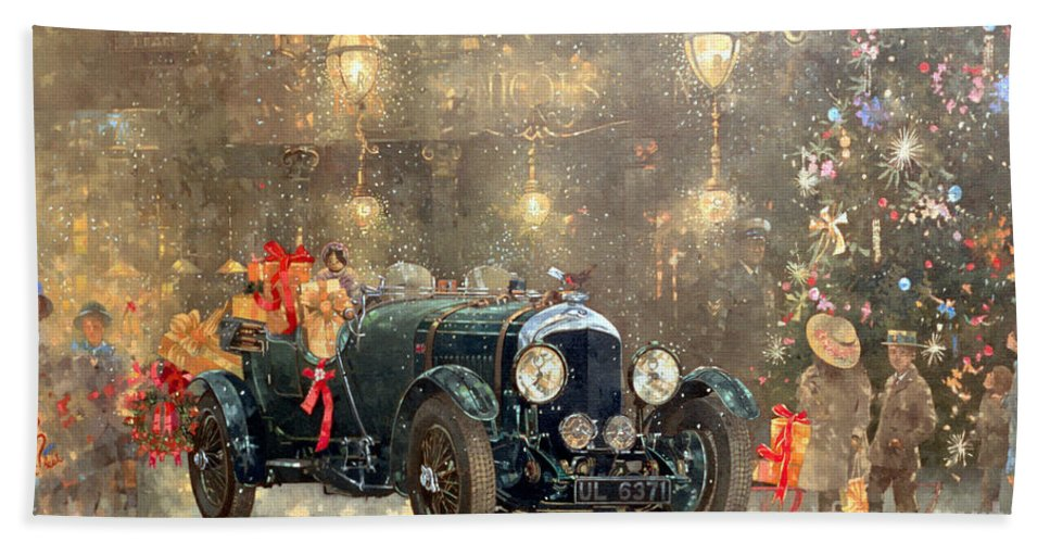 Motor Car Bath Towel featuring the painting Christmas Bentley by Peter Miller