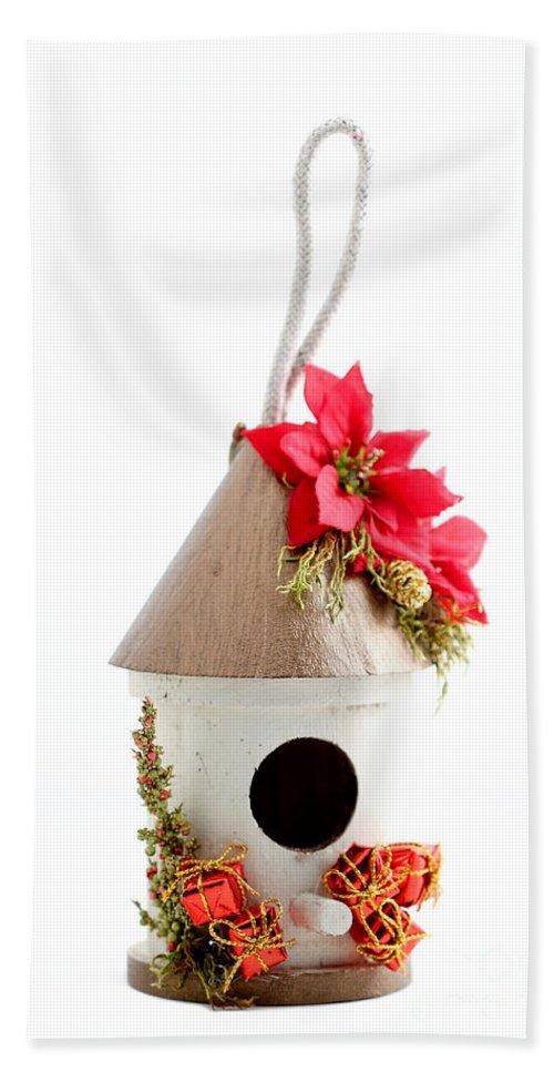 Ornament Hand Towel featuring the photograph Christmas Bird House by Henrik Lehnerer