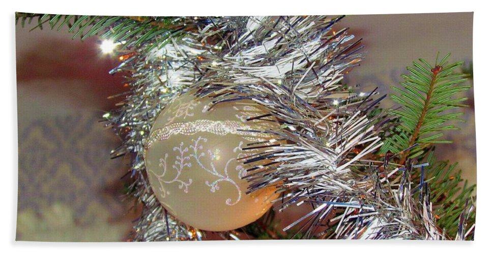Christmas Tree Bath Sheet featuring the photograph Christmas Bling by Elizabeth Dow