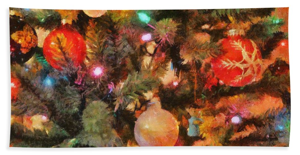 Angel Hand Towel featuring the painting Christmas Branches by Jeffrey Kolker