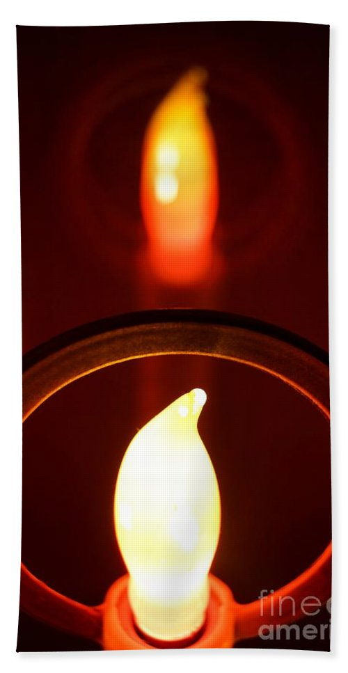 Abstract Hand Towel featuring the photograph Christmas Candle Reflection by Kerri Mortenson
