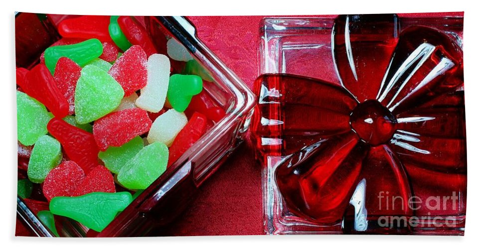 Christmas Candy Bath Sheet featuring the photograph Christmas Candy - Candy Dish - Sweets - Treats by Barbara Griffin